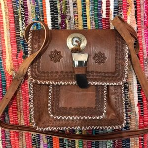 Handmade Leather Tooled Horn Clasp Messenger Bag